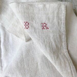 1850s French linen dish towel BR monogram hand kitchen towel farmhouse look
