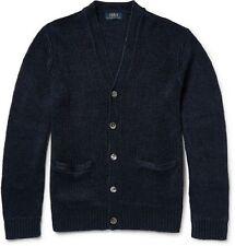 Polo Ralph Lauren Mens Knitted Linen V Neck Cardigan Sweater Navy Sz M NWT $265