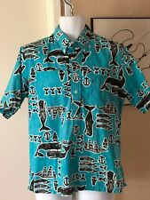 Vintage Whales! Pullover Button Down Hawaiian Shirt Men's Size Medium