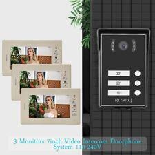 """Pro Videocitofono Trifamiliare Telecamera Video Citofono 3 Monitor 7"""" Apriporta"""
