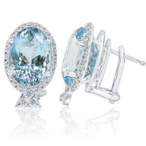 12.69 Ct GIA Certified Oval Cut Aquamarine Diamond Stud Earrings 14k White Gold