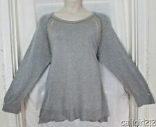 Linda Matthews $58 Stunning Grey with Silver Threads Mixed Studs Sweater 2X NWT