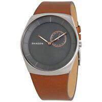 SKAGEN SKW6415 Grey Dial Brown Leather Men's Watch - 2 Years Warranty