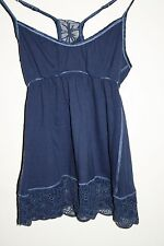 Abercrombie & Fitch Woman's Designer Top Vest Embroidered Floral Navy Blue S