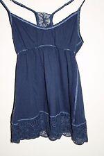 Abercrombie Fitch Woman's Designer Top & Chaleco Bordado Floral Azul Marino S