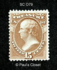 US TREASURY OFFICIAL STAMP SC O79 15¢ HAMILTON 1873 MINT NO GUM  F/VF
