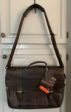 """Samsonite Leather Flapover Briefcase with 15.6"""" Laptop Pocket Brown 45798-1139"""