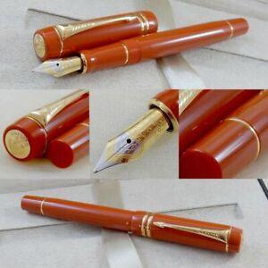 Parker Duofold International Centennial Orange Red 18K Gold Trim Fountain Pen