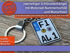 Zweiseitiger Schlüsselanhänger mit Wunschtext, Motorrad, Geschenkidee
