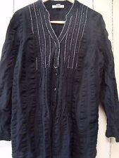Style & Co LS boho peasant blouse V neck tunic black w beading Plus sz 16W EUC