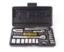 "21Pcs 1/4"" & 3/8"" Socket Wrench Rachet Set Blow Case Extension Bar Adapter"