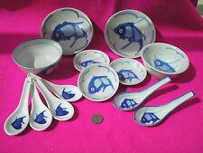 Lote de Placas de China Platos Tazones de fuente trabajo Cucharas Blanco Chino pescado azul