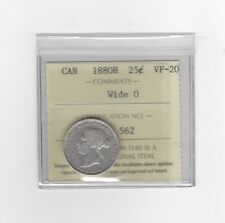 **1880H Wide 0**, ICCS Graded Canadian, 25 Cent, **VF-20**
