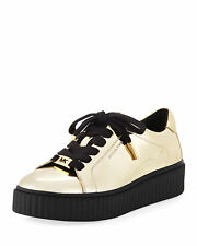 Michael Kors Trevor Lace-Up Metallic Platform Sneaker Light Gold Size 9.5
