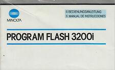 Manuale di istruzioni MINOLTA 3200i FLASH ISTRUZIONI INSTRUCTION MANUAL f92