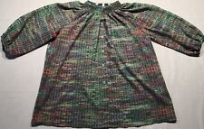 Collective Concepts Womens Top Blouse Multi Color Floral Stretch Collar Size M