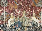 Vintage French Tapisserie Goblys Medieval Lady & Unicorn Needlepoint Tapestry