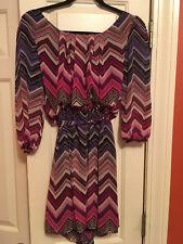 Womens Juniors Sexy Mini Dress with Belt Small S 3/4 Sleeve Pattern Shirt