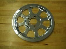 CHROME STEEL PULLEY COVER W/ HARDWARE HARLEY TWIN CAM FXST FLST SOFTAIL 2000-06