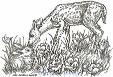 Deer Bambi and Bunny Wood Mounted Rubber Stamp Northwoods Rubber Stamp M6488 New