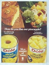 1979 Magazine Advertisement Page Dole Canned Sliced/Chunk Pineapple Fruit Can Ad