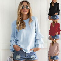 Mujer Con Volantes Blusa Manga Larga Camiseta Holgado Camisa Informal Suéter