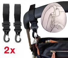 2 Adjustable Pram Clips Bag Buggy Set BAG HOOKS Fit Bugaboo, Phil+Teds, Quinny