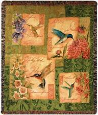 Wings & Blossoms Hummingbirds Tapestry Afghan Throw ~ Artist, Susan Winget