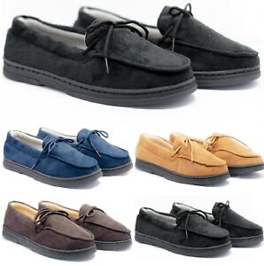 MENS COMFORT SOFT HARD MOCCASIN SOLE FAUX SUEDE TEXTILE LINED SLIPPERS SHOES SZ