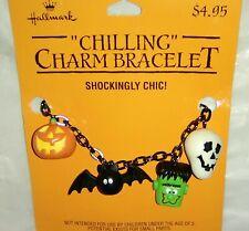 Vintage Hallmark Halloween Charm Bracelet-Ghost, Monster, Skull, Bat