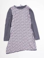 Laura Ashley Womens Size 10 Floral Cotton Blend Grey Dress (Regular)