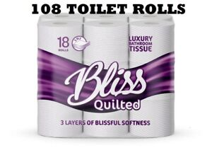 108 Rolls 3ply Bliss Quilted & Embossed Luxury Bathroom Toilet Tissue 21m per ro