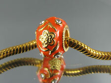 EXQUISITE ORANGE FABERGE EGG CHARM BEAD FOR EURO STYLE CHARM BRACELETS  #FAB 091