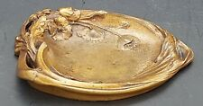 CENDRIER BRONZE AUX PAVOTS PAR H.DELVERT ART NOUVEAU 1900 PATINE MORDOREE 290 gr