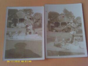 2 RARE 1935 RPPC SIZE PHOTO WIND-UP POPEYE TIN TOY BEARS BLOCKS CAR KID TRICYCLE