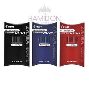 PILOT V5/7 HI-TECPOINT CARTRIDGE SYSTEM - Packs of 3 Replacement Ink Cartridges