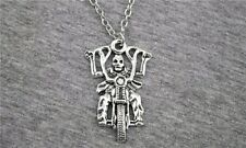 "2-5/8"" x 1"" SKELETON BIKER Pendant Necklace 18"" Link Chain (#32-33) Motorcycle"