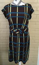 Simply Chloe Dao Striped Brown, Blue, Green Dress Size Ladies M Plaid US SELLER