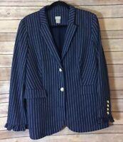 Chico's Women's Blue White Pinstripe Rayon Blend Blazer, Size Large (12/14).