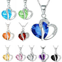 Fashion For Women Heart Crystal Rhinestone Silver Chain Pendant Necklace Jewelry