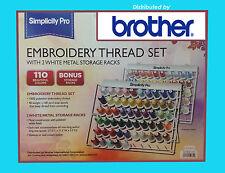 Brother Set 110 Spool Embroidery Thread GENUINE  $3.10 ea + 2 THREAD RACKS WOW!