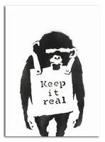 "BANKSY STREET ART CANVAS PRINT Monkey Keep it real 16""X 12"" stencil poster"