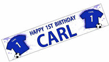 PERSONALISED BANNERS NAME AGE PHOTO BIRTHDAY FOOTBALL 12th 13th 14th kit blue K2