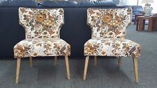 Vintage Mid-Century Modern Pair Hourglass Side Chairs Vintage Fabric Sweet Look!