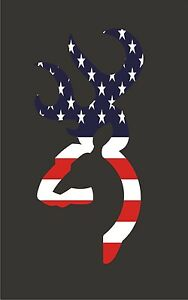 """2 Browning style deer buck hunting USA 3"""" decal vinyl sticker flag cell phone"""