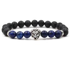 Men Fashion Black Lava Stone Silver Lion Beaded Cuff Charm Bangle Bracelet
