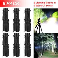 6pcs Mini CREE LED Flashlight Torch 1800LM Adjustable Focus Zoom Light Lamp
