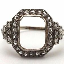 BAGUE MONTURE ART DECO OR BLANC 18K  SANS DIAMANTS  SANS PIERRE CENTRALE **