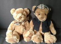 2 BURBERRY Fragrance Teddy Bears HOODIE Plush Nova Check Bow Tie Scarf 2007 2009