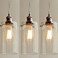 3 ALLIRA Glass Pendant Lights Filament Chrome Fittings Industrial Vintage NEW